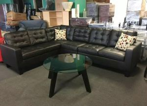 Brand New Espresso Bonded Leather Sectional Sofa Couch for Sale in Silver Spring, MD