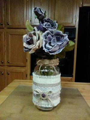 Decorated mason jar with purple flowers for Sale in Rustburg, VA