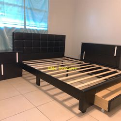 New 4 Piece Full Size Or Queen Bedroom Set Same Day Delivery. Bed Frame With Storage Night Stand Dresser And Mattress Thumbnail