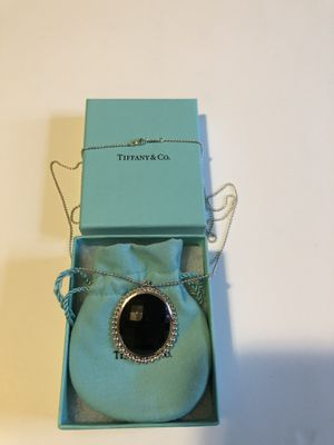 Photo Authentic Tiffany & Co. black oval Onyx Pendant with sterling silver, 28 inch