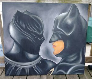 Stretched Black Panther vs Batman canvas painting #3 for Sale in Washington, DC