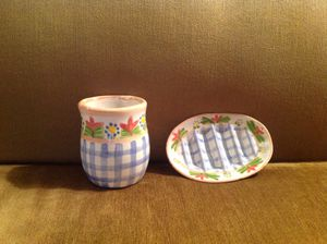 Bathroom set ceramic cup and soap dish - signed for Sale in Houston, TX