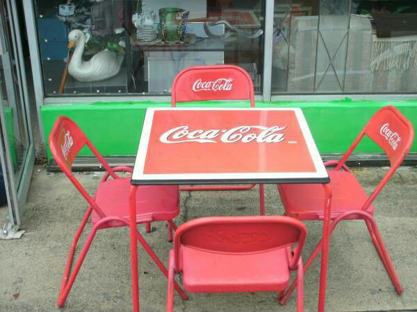 vintage 1950 s coca cola coke porcelain top table and four metal