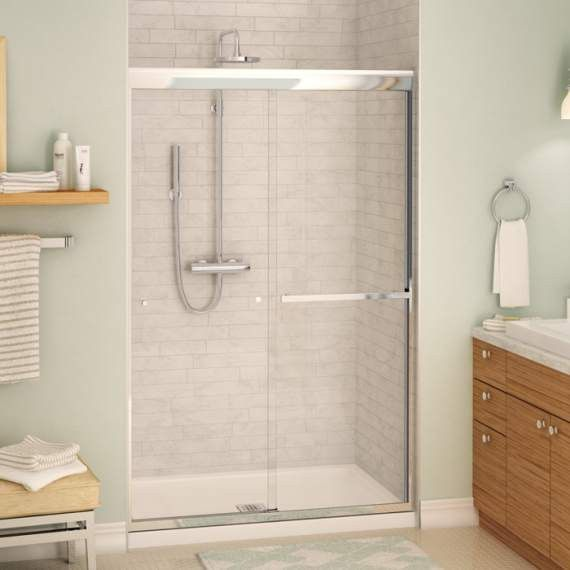 frameless door semi quot shower with traditional sliding dp delta windemere in doors glass clear chrome bathtub