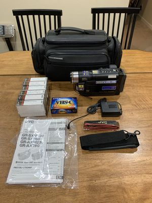 Photo JVC VHS-C Camcorder GR-AXM230 and 1 Sealed & 6 Used VHS-C Tapes Manual Strap Bag