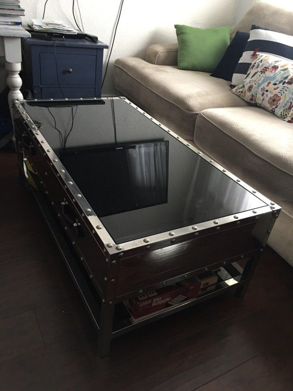 Z Gallerie Large Studded Mirrored Coffee Table With Two