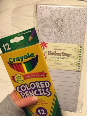 Coloring Note Pad (with colored pencils) for Sale in Boston, MA