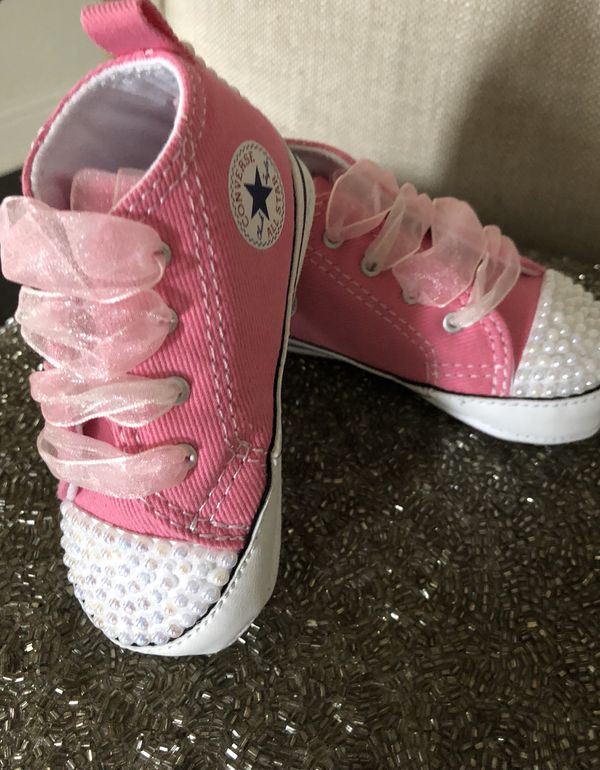 Pearl bedazzled pink crib baby girl converse  custom made for Sale in ... 086b09af3c17