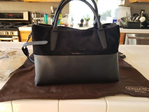687d25cc8a Coach Black Suede   Leather Tote Shoulder Bag D1420-32296 for Sale ...