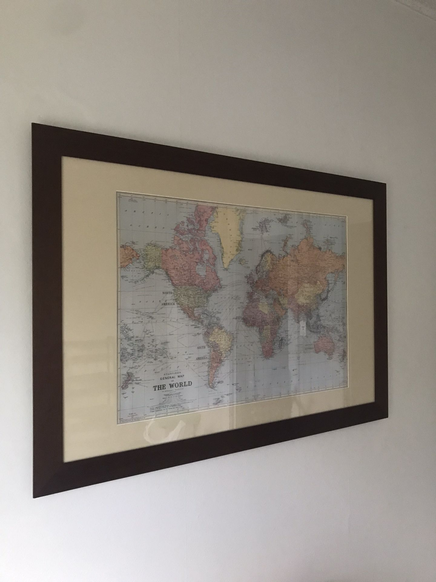 Dark Wood Frame With Map And Custom Mat