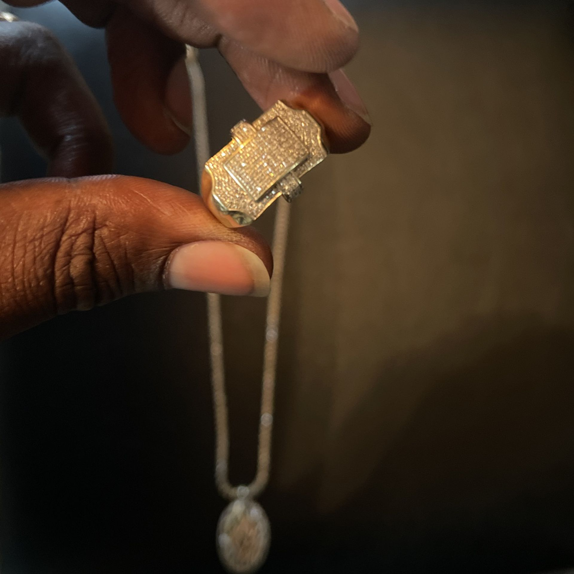 Diamond Tennis Necklace With Pendant 3,000 Without Pendant 2,300  The Ring 600. Or We Can Make A Deal. Or Best Offer. Won't Respond To Bullshit 💯✌🏾