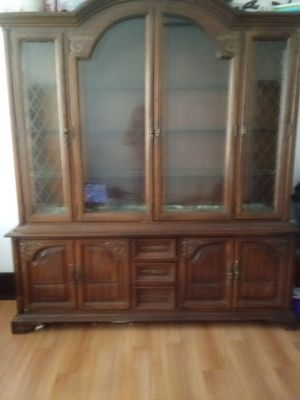 Photo China Hut two piece glass cabinets and wooden drawers need to leave quick 150