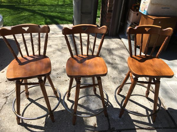 3 Wood Swivel Barstools Made By Tell City Furniture For Sale In Indianapolis In Offerup