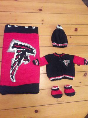 Handmade Newborn Falcons baby lap blanket, changing pad, hat, sweater, and booties! Custom made. Asking $289! for Sale in Atlanta, GA