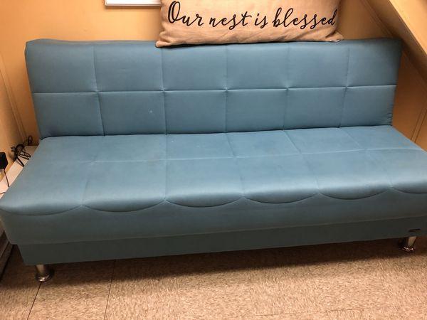 Sofa Bed Futon Light Baby Blue