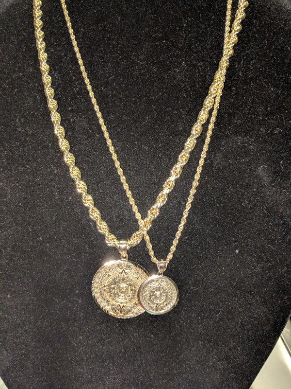 Aztec calendar pendants with gold rope chains 100 real 10kt gold aztec calendar pendants with gold rope chains 100 real 10kt gold for sale in mesa az offerup aloadofball Image collections