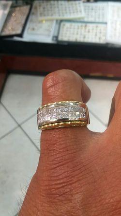 18k gold ring 16.8 grams 2 ct vs princess cut Thumbnail