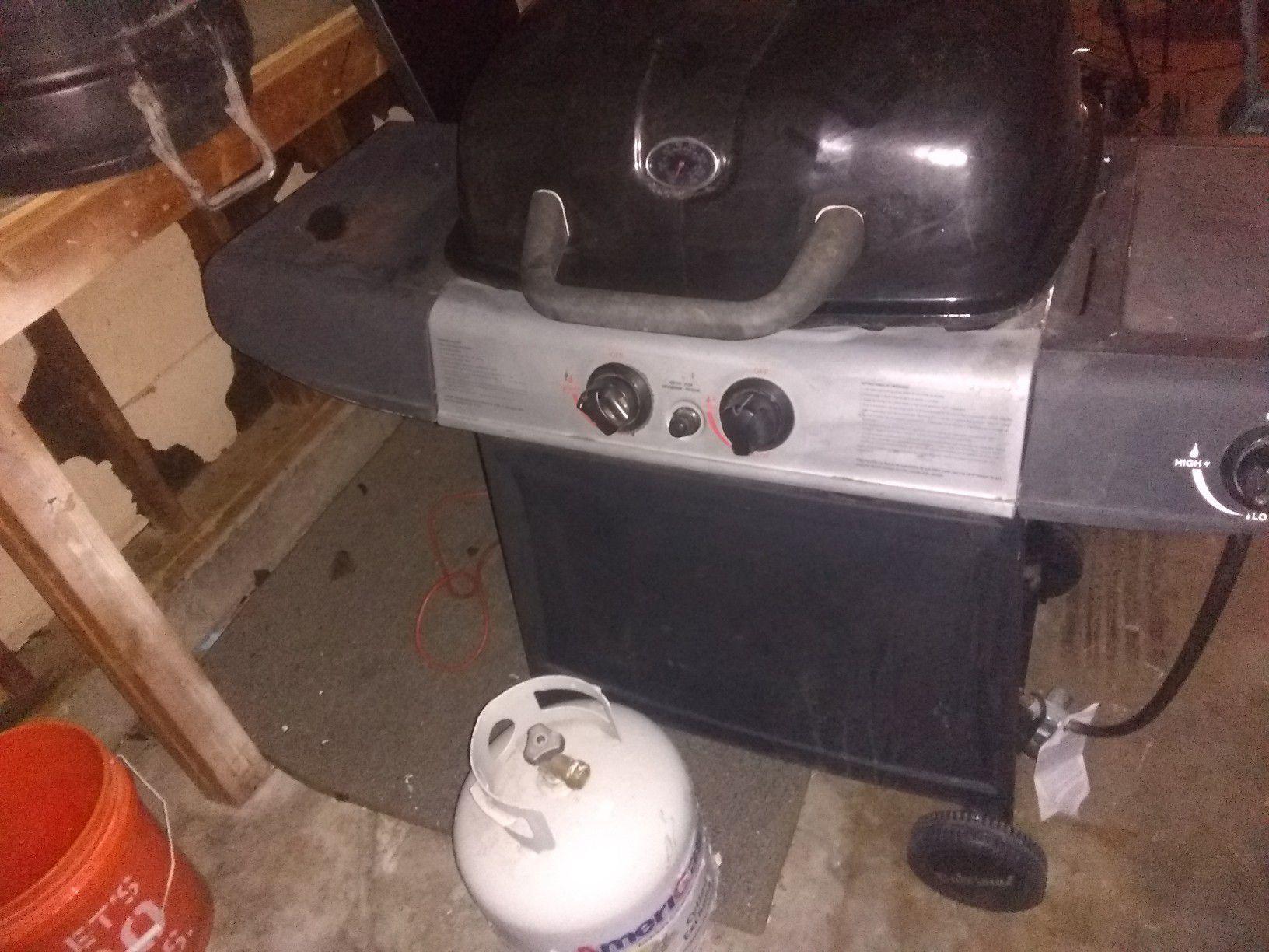 BBQ with propane tank