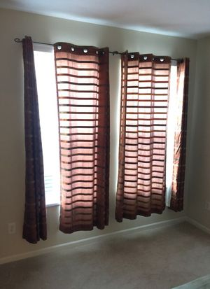 Brown striped curtains (4 total pieces) for Sale in Columbus, OH