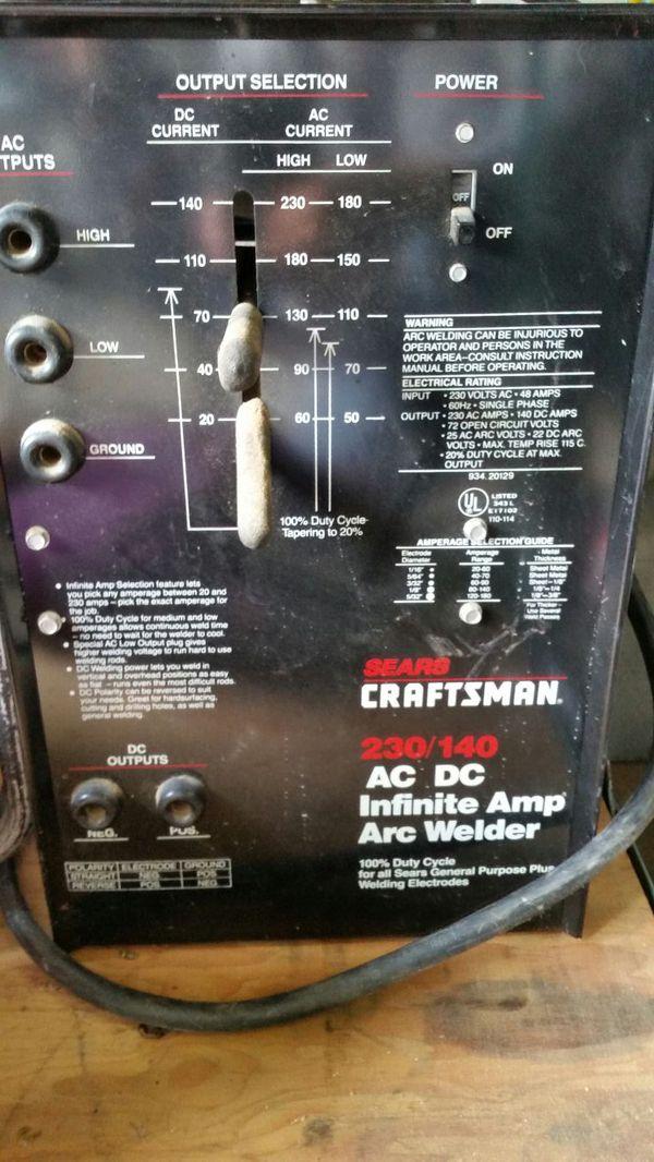 Craftsman 230 140 Ac Dc Infinite Amp Arc Welder Model 110