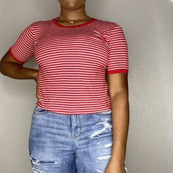 Red and White Striped Shirt Thumbnail