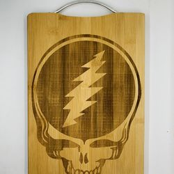 Grateful dead skull laser engraved bamboo high quality cuttingboard pop gift Thumbnail