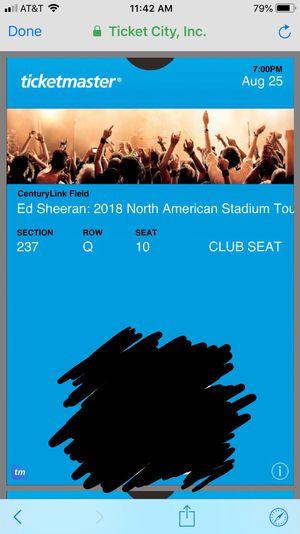 Ed Sheeran tickets for Sale in Tacoma, WA