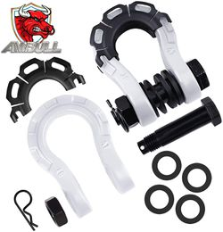 """AMBULL Shackles Upgrade 3/4"""" D Ring Shackle (2 Pack) 68,000 lbs Break Strength with 7/8"""" Pin, Isolator and Washer Kits for Use with Tow Strap, Winch,  Thumbnail"""