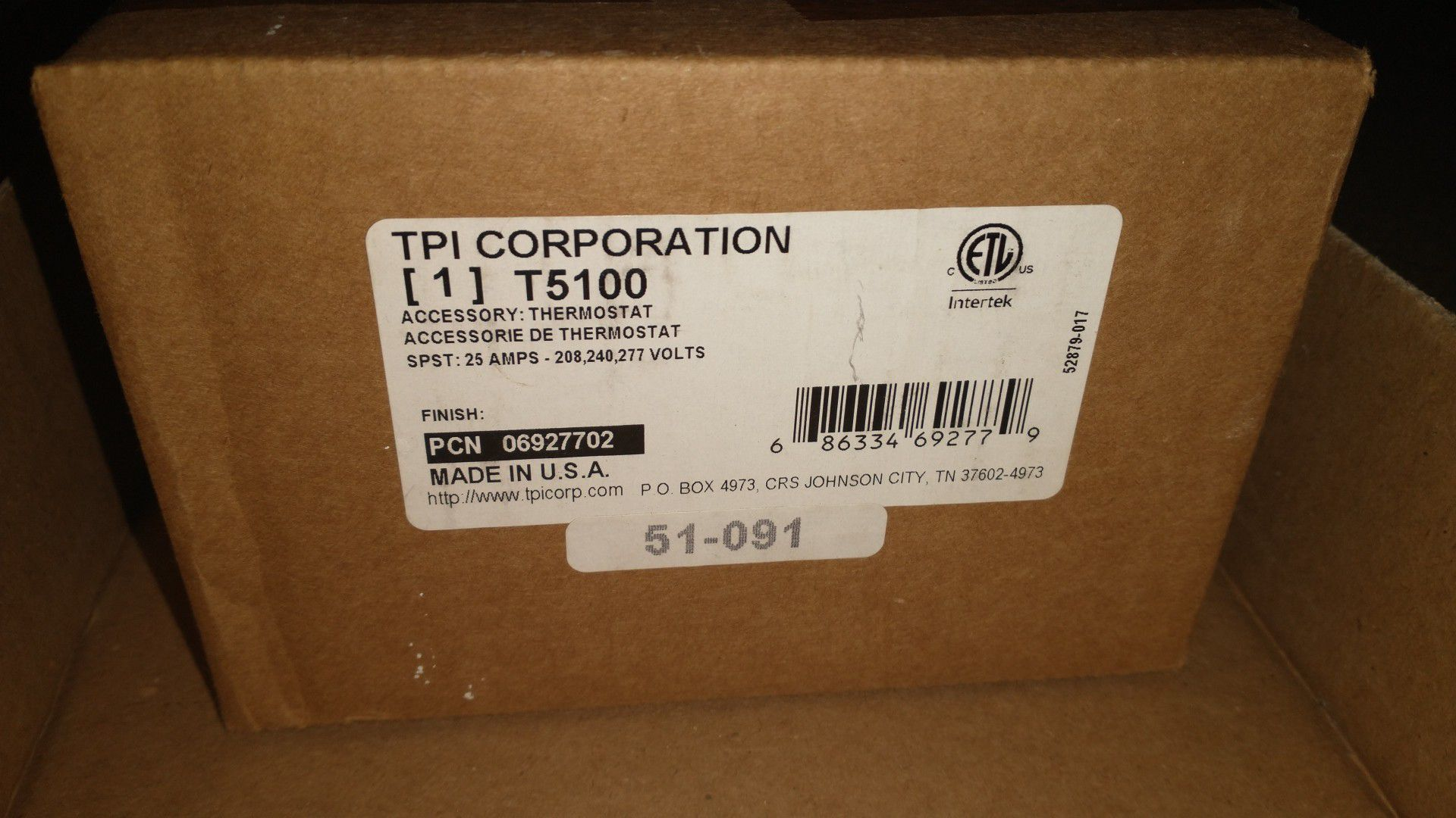 TPI Corporation Air Heater Thermostat