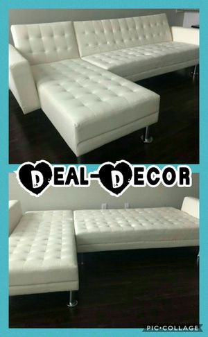 Photo White Leather Sectional/Sofa Bed