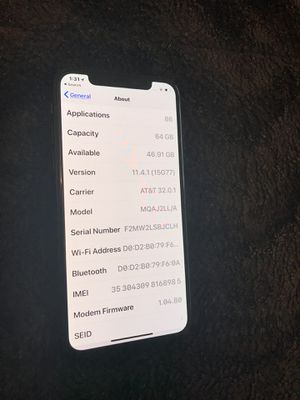 Apple iPhone X 64GB AT&T price is firm!! for Sale in Oxon Hill, MD