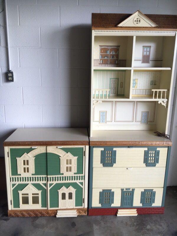 Vintage Singer Dollhouse Dresser Hutch And Cabinet For