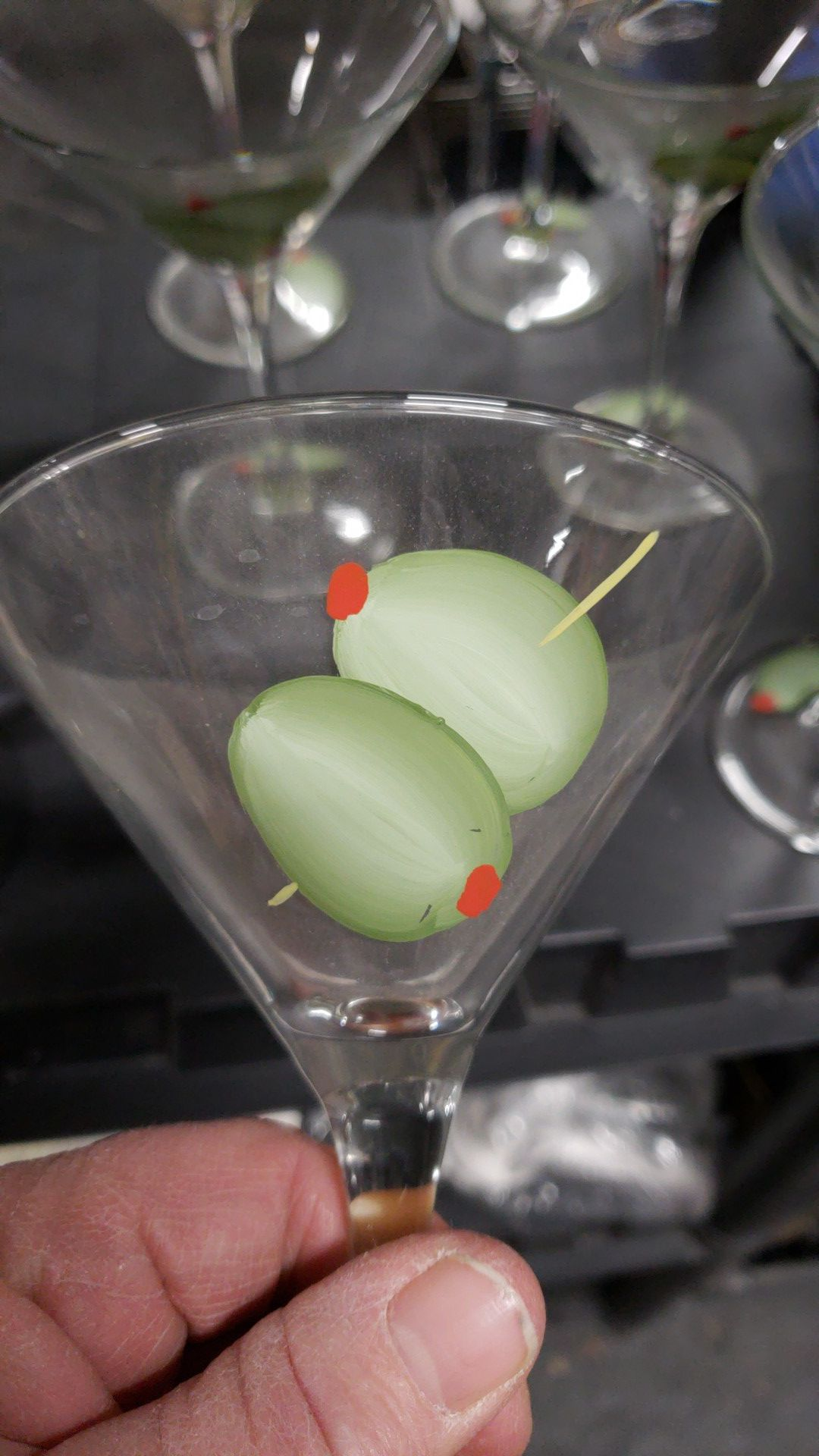 6 Hand Painted Novelty Green Olive Martini Glasses