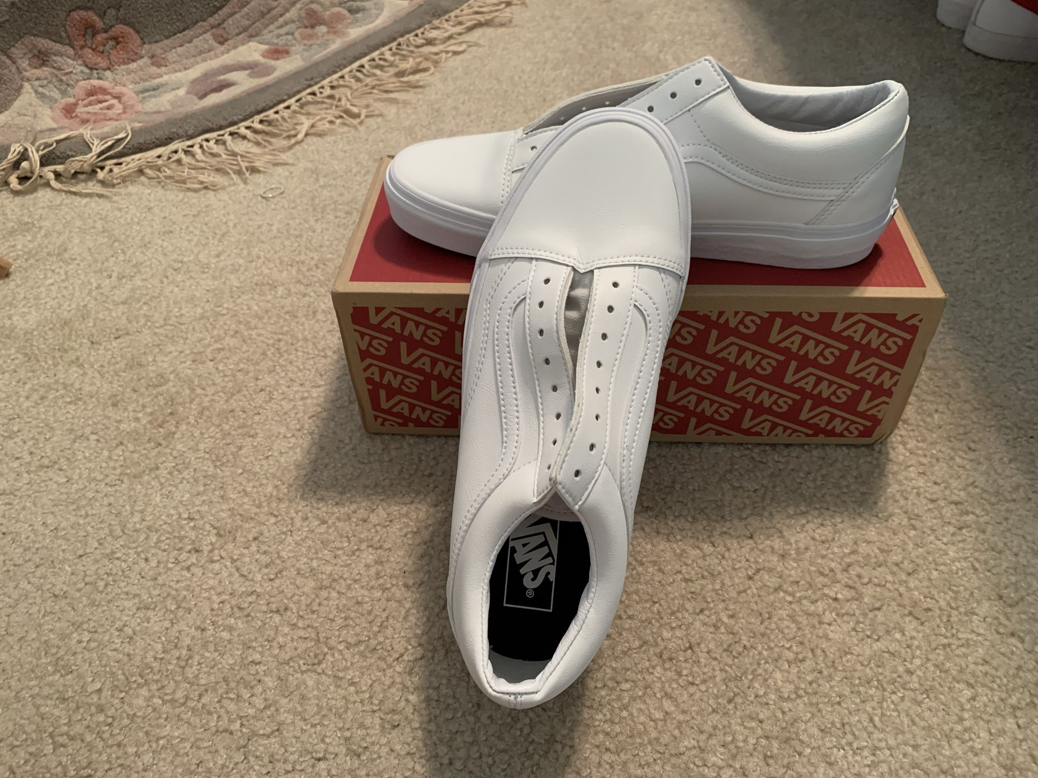 Vans White Leather Lows