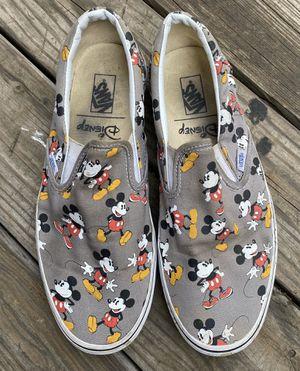 Photo RARE🔥 VANS x Disney Mickey Mouse Print Frost Gray Classic Slip On VANS Sz 11
