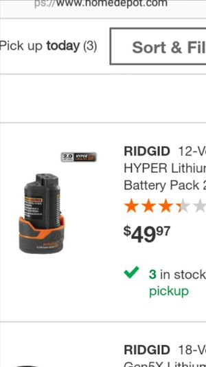 Ridgid ion battery for Sale in Fort Lauderdale, FL