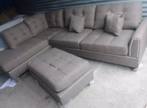 Brand New Coffee Color Blended Linen Sectional Sofa Couch +Ottoman for Sale in Silver Spring, MD