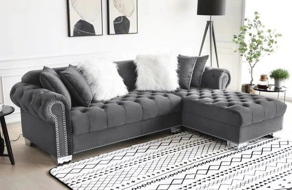 SAME DAY DELIVERY🚚BRAND NEW GRAY VELVET RAF SECTIONAL SOFA, COUCH ☆ 39 DOWN PAYMENT.