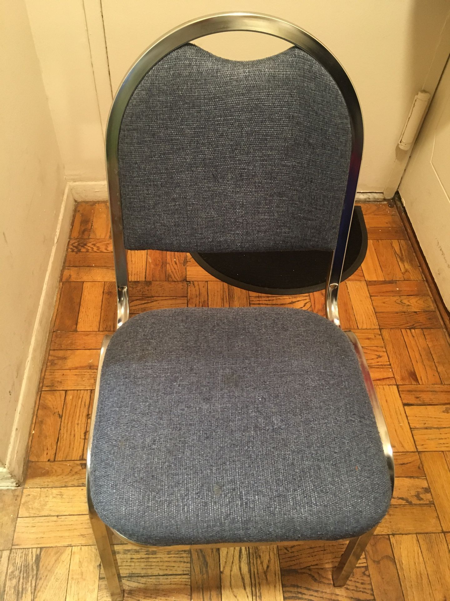 Kaydee Metal Chair With Blue Fabric