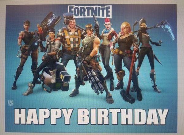 Fortnite Happy Birthday Banner 3ftx4ft Regular Paper Not