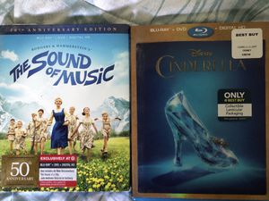 THE SOUND OF MUSIC BLU- RAY , DVD AND DIGITAL COPY 50th anniversary edition and LIVE ACTION CINDERELLA BLU-RAY AND DVD COPY for Sale in Ontario, CA