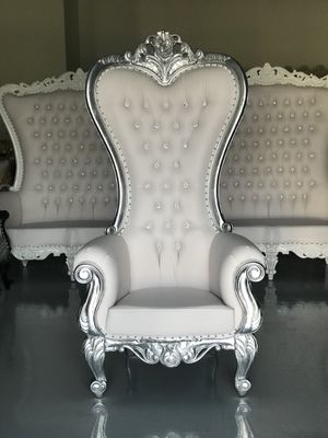 Free nationwide delivery | silver leaf throne chairs king queen princess royal baroque wedding event party photography hotel lounge boutique furnitur for Sale in Philadelphia, PA