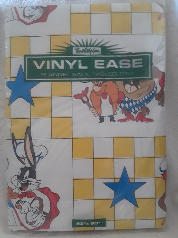 Vintage Looney Tunes Vinyl Tablecloth For Sale In