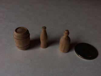 Small wooden barrels and bottles Thumbnail