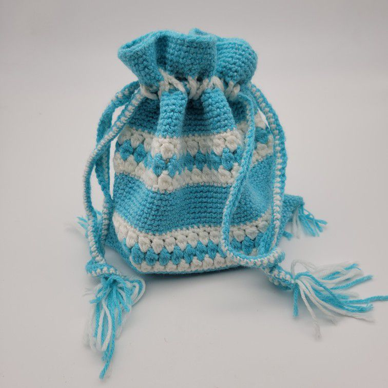 Vintage Fringed Knitted Drawstring Bag In Aqua/Teal Blue And White