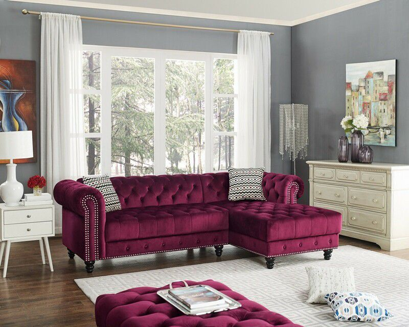 Red wine glamorous luxurious sofa sectional couch