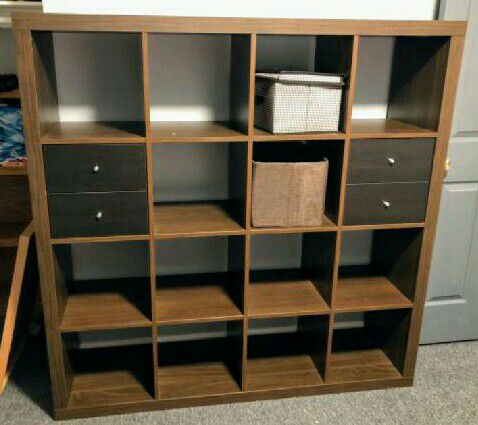 Ikea Expedit 4x4 Shelf Unit In Brown With Drawer Inserts X2