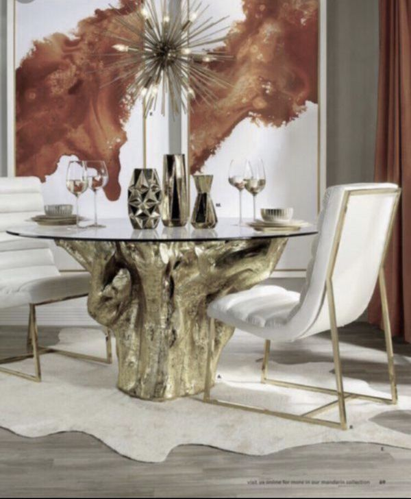Z Gallerie Gold Sequoia Dining Table