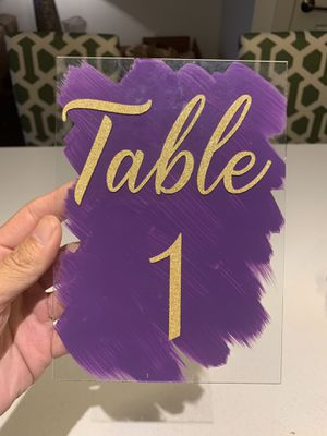 Table numbers purple for Sale in Washington, DC