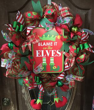 blame it on the elves christmas wreath for sale in humble tx - Horseshoe Christmas Wreath